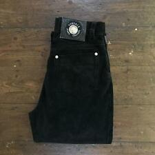 Rare VERSACE Jeans Couture Womens SUEDE Trousers | HIGH WAIST | W27 L26 Black