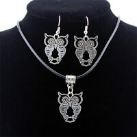 Fashion Vintage Jewelry Set Thai Silver Necklace Earrings Woman Owl Pendant Gift