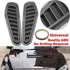 2x Carbon Fiber Car Air Flow Intake Scoop Hood Bonnet Vent Cover Decor Sticker