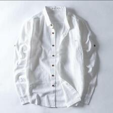 Mens Linen Shirt Long-sleeved Korean Slim Casual Trend Chinese Style Blouse T353