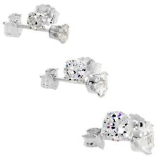 925 Sterling Silver 3-Pair Set Round Cubic Zirconia Stud Earrings 4 - 5 and 6mm