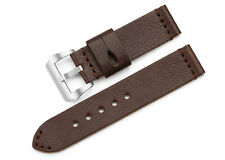 24mm Handmade Brown Genuine Leather Watch Band Steel Buckle Strap For Panerai