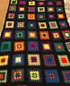 Vtg Handmade Granny Square Crocheted Afghan Blanket 54 X 77 Black Patchwork