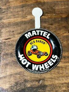 1969 Mattel Hot Wheels Redline Red Baron Tin Litho Badge Pinback ORIGINAL