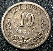 1891 Z's Zacatecas Mexico 10 Centavos Second Republica Mexicana Silver Coin