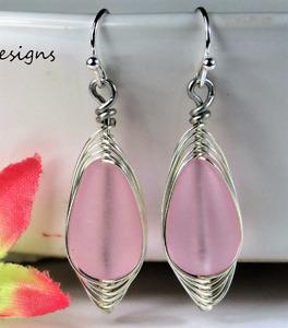 SEA GLASS Teardrop Pink Weave Wire SILVER Dangle Earrings USA HANDMADE