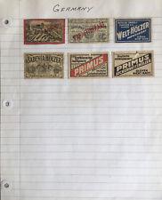 Lot Of Old Vintage Matchbox Label Germany Matchbook Art
