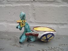 Table Salt Cellar ? Vtg Retro Kitsch Hand Painted Majolica Pottery Donkey & Cart