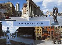 Alte Postkarte - Gruss aus Stuttgart mit Hans-im-Glück-Brunnen