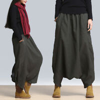 Ladies Plus Harem Baggy Wide Leg Casual Solid Pants Yoga Trousers Oversize