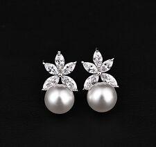 Bridal Wedding Swarovski Elements Crystal Flower Pearls Silver Earrings-Clip On-