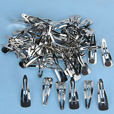 Hot 50pcs Silver Tone Snap Hair Clips 50mm Craft Bow-Nickel Plated Hair Pins