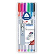 6 x Staedtler Triplus Fineliner Pens - 334 - Assorted Colours - Desktop Box