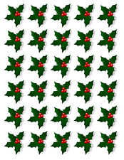 150 X HOLLY & BERRY LEAVES - CHRISTMAS - EDIBLE CUPCAKE CAKE TOPPERS D4
