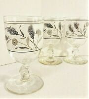 3 Classy Retro & Vintage Frosted Wheat Pattern Stemmed Juice or Cordial Glasses
