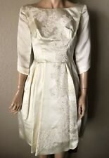 Vintage Satin Wedding Dress Tea Length Lace Pearl Detail Bust 34 Sleeves Mod