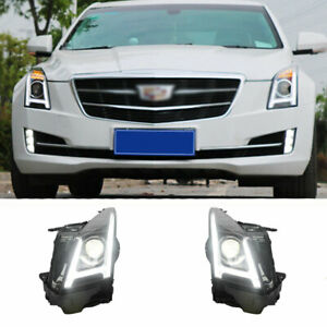 For Cadillac ATS LED Headlights Projector LED DRL 2013-2018 Replace OEM Halogen