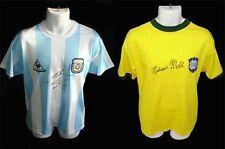 Pele & Diego Maradona década firmado/Autografiado WC camisas, Camisetas-foto prueba