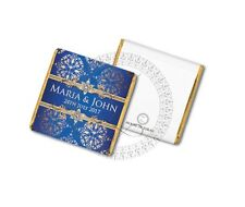 50 Personalised Blue Gold Luxury Wedding Party Celebration Favour Chocolates