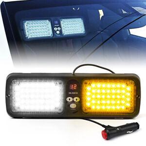 Xprite 86 LED Sunshield Light Visor Strobe Bar Emergency Hazard -White Amber