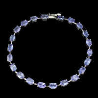 Unheated Oval Blue Tanzanite 6x4mm Natural 925 Sterling Silver Bracelet 7 Inches