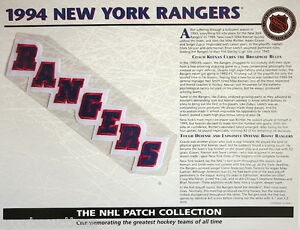 1994 NEW YORK RANGERS Willabee & Ward NHL THROWBACK HOCKEY TEAM PATCH Stat Card