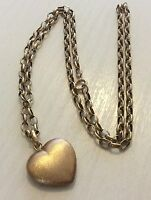 Lovely Ladies Full Hallmarked Vintage 9ct Gold Heart Pendant On 9ct Gold Chain