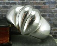 Zina Wide Sterling Silver Cuff Bracelet with Heart