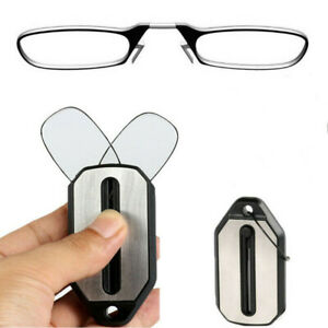 Mini Ultra Folding Nose Clip Reading Glasses with Keychain 1.0 1.5 2.0 2.5 3.0