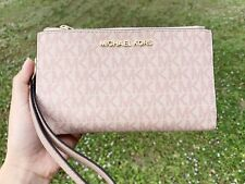 Michael Kors Jet Set Double Zip Wristlet Phone Wallet Fawn MK Signature Ballet