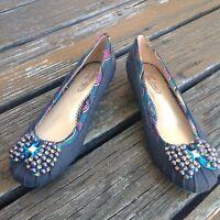 Poetic Licence Please Me Denim Jewel Ballet Bow Kitten Heels 8 39 Womens Shoes