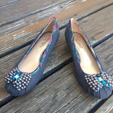 Poetic Licence Please Me Blue Denim Jewel Ballet Bow Flats 8 39 Womens Shoes