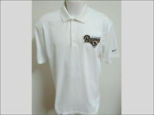 Sz M-3XL White Rams Nike Dri-Fit Mens Polyester #57Z Polo Shirt