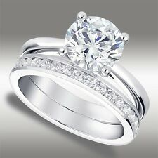 2.50 Ct Brilliant Round Cut Lab Engagement Ring & Channel Band in 14k White Gold