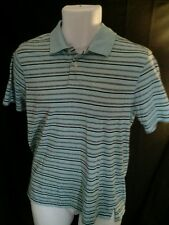 John Ashford pocket polo shirt. Men's small, blue striped 2 button EUC