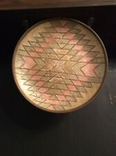 """Vintage Hand Painted Solid Brass Wall Decoration Round 9.5""""Made In India"""