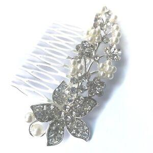Silver Wedding Bridal Hair Comb Flower Crystal Diamante Pearls
