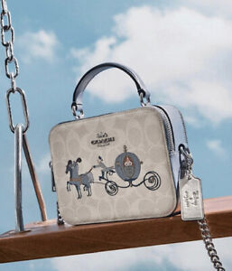 """Disney X COACH Box Crossbody Signature Canvas with Cinderella """"Sold Out"""" NWT"""