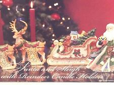 Kirkland Signature Santa and Sleigh with Reindeer Candle Holders w Original Box
