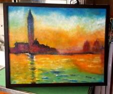 Original-One of Kind-Oil/Canvas Painting-Sunset in Venice- Signed-COA-Listed Art