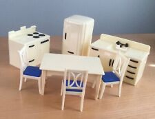 Ideal 7 PC KITCHEN  Vintage Tin Dollhouse Furniture Renwal Plastic 1:16