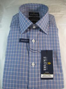 NWT STAFFORD TRAVEL EASY CARE BROADCLOTH  REG. FIT DRESS SHIRT, Blue Grid Check