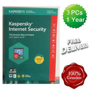 Kaspersky Internet Security 2018 3 Users Multi device inc Antivirus VAT UK