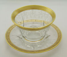 ELEGANT GLASS ETCHED GLASS w/ GOLD GILT - MAYONNAISE BOWL w/ UNDERPLATE