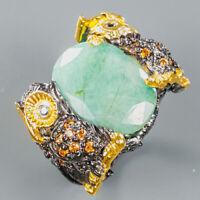 Emerald Ring Silver 925 Sterling Jewelry Fine Art Size 9 /R140173