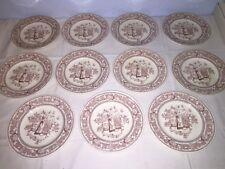 "11 Old Hall England Eware MOTHER HUBBARD 8 1/4"" Luncheon Plates c1860-1880"