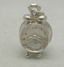 STERLING SILVER OPENING CHARM OF AN ALARM CLOCK