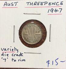 1947 australian three pence - variety die crack '7' to rim
