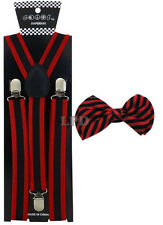 New Awesome Striped Two Tone Black & Red Adjustable Bow Tie & Suspender Set