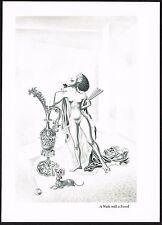 1950s Vintage Artzybasheff Female Nude Snood Fan Fantasy Art Gravure Print